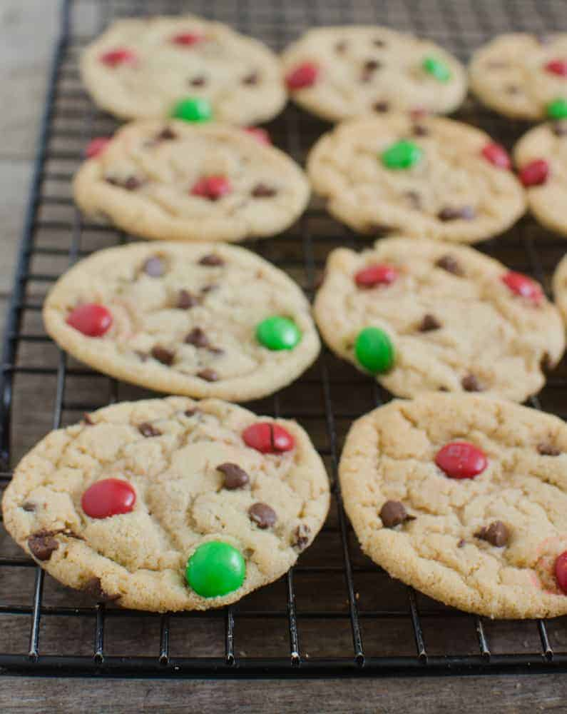 Christmas Cookies - Chocolate Chip and Holiday M&M's Cookies