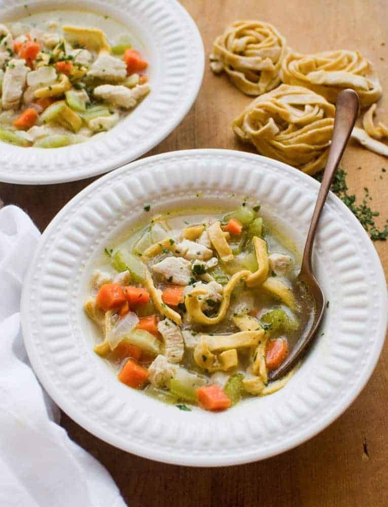 This Classic Chicken Noodle Soup comes together in just 30 minutes. It is warm and comforting, and the whole family will love it!