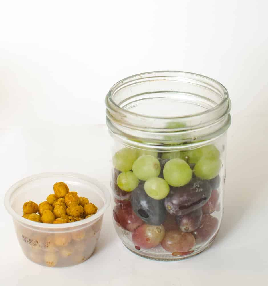 Healthy Snacks in Jars - Grapes + Chickpeas