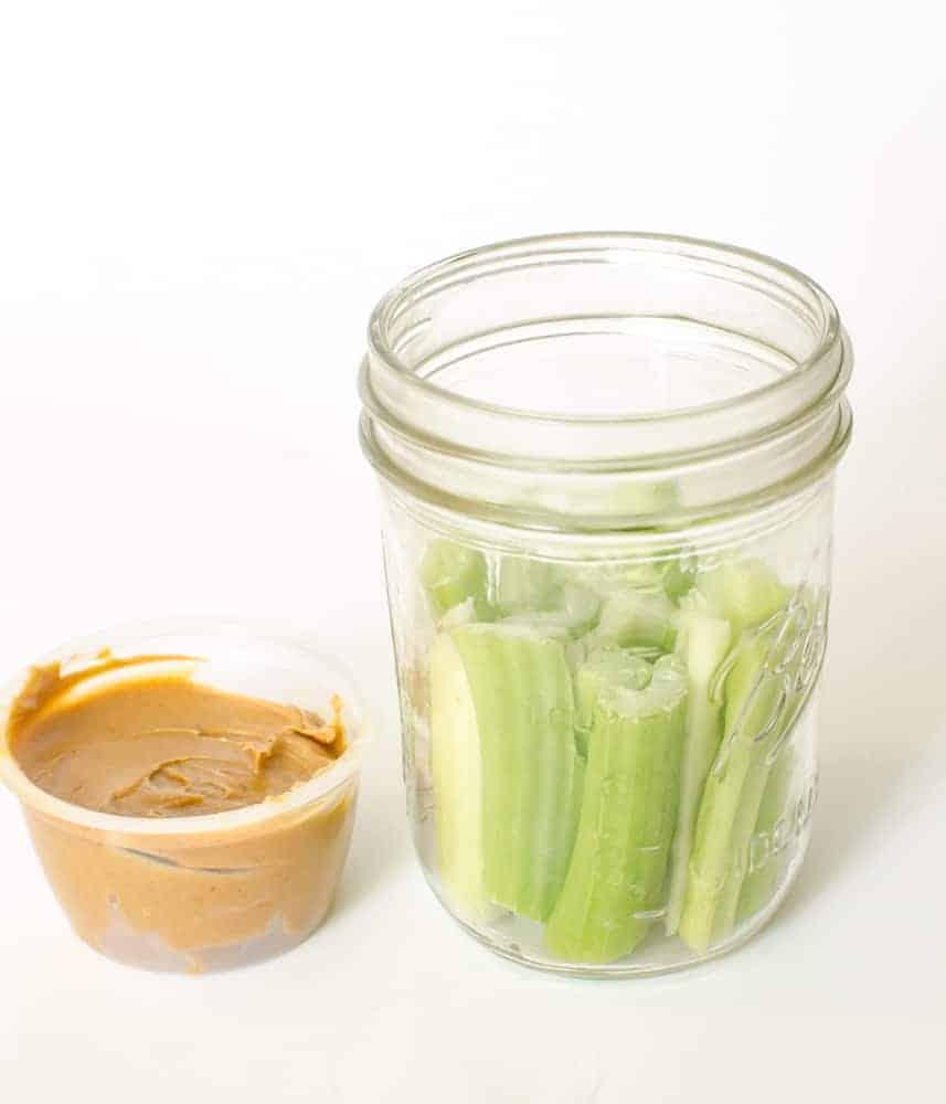 Healthy Snacks in Jars - Celery + Peanut Butter