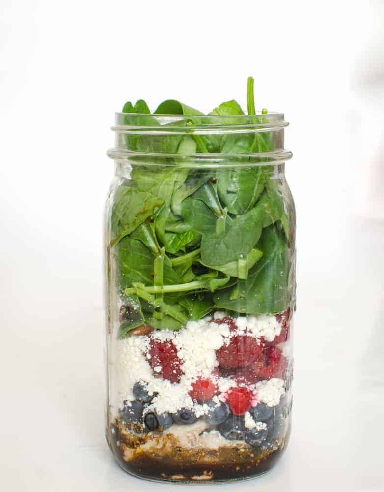Berry Chicken Salad with Feta Salad in a Jar
