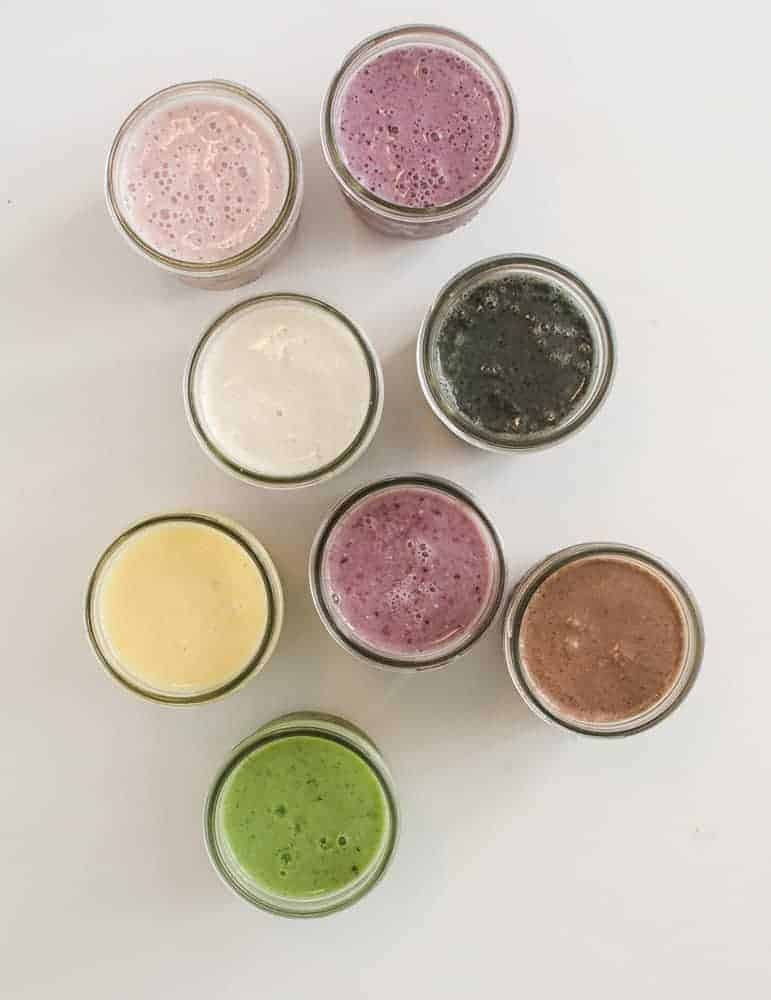 8 Simple Smoothies in glass jars