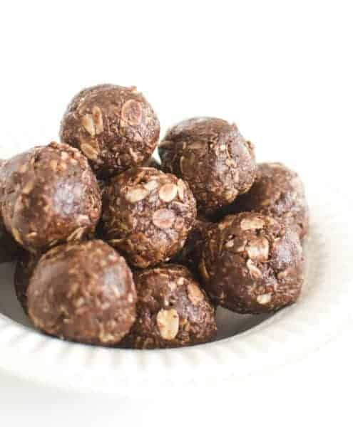 Plate of chocolate peanut butter energy bites