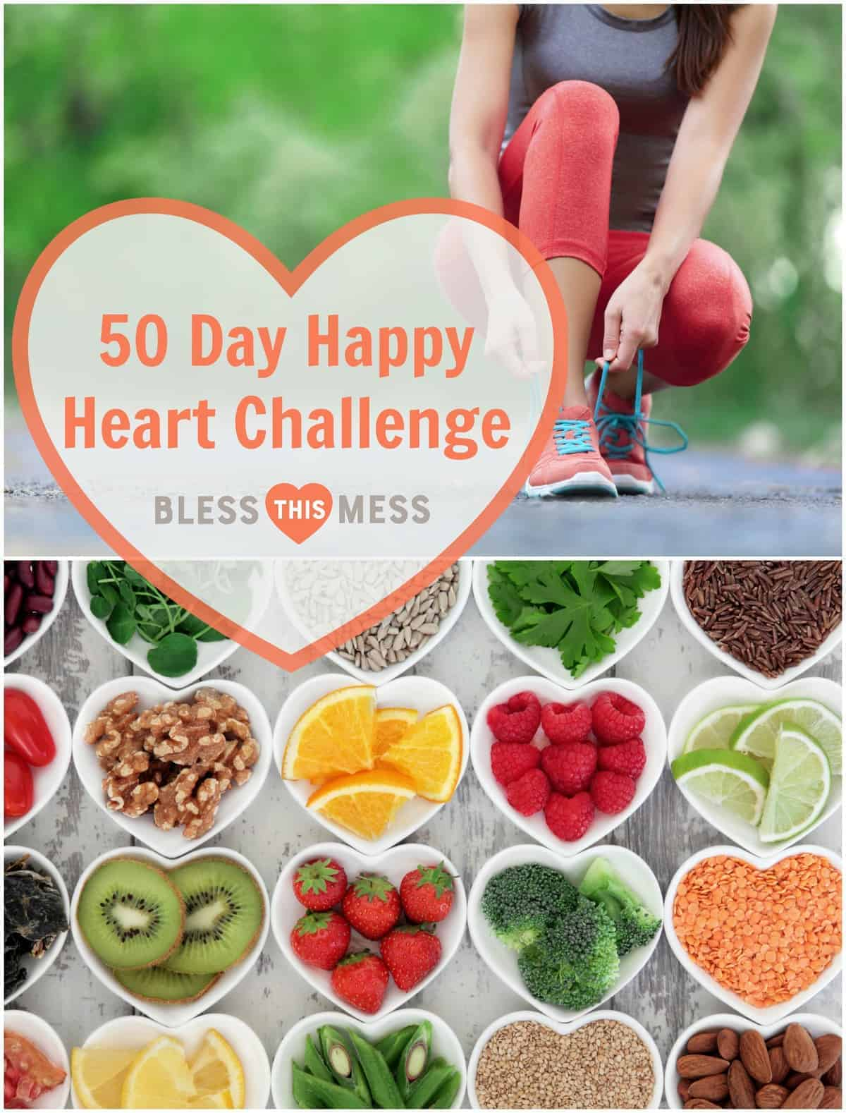Join me in The Happy Heart Challenge - 50 Days to a Happier, Healthier You! Printable PDF to help you track your goals and progress are included.