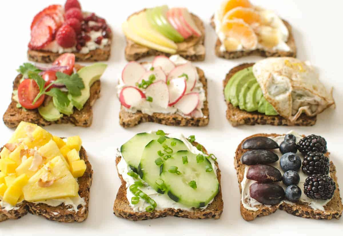 9 sweet and savory healthy toast ideas that are simple, colorful, and filling enough to make into a meal!