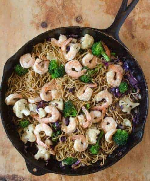 This Shrimp Noodle Stir Fry is full of veggies and done in under 30 minutes making it a perfect weeknight meal!
