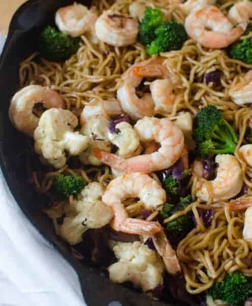 Shrimp Noodle Stir Fry that is full of veggies, done in under 30 minutes and tastes just like the little packets of ramen you get at the grocery store, but without all the artificial ingredients!