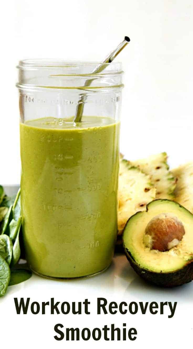 The best workout recovery smoothie to help reduce inflammation, build muscle, and feel your best! Pineapple, avocado, and spinach, oh my!