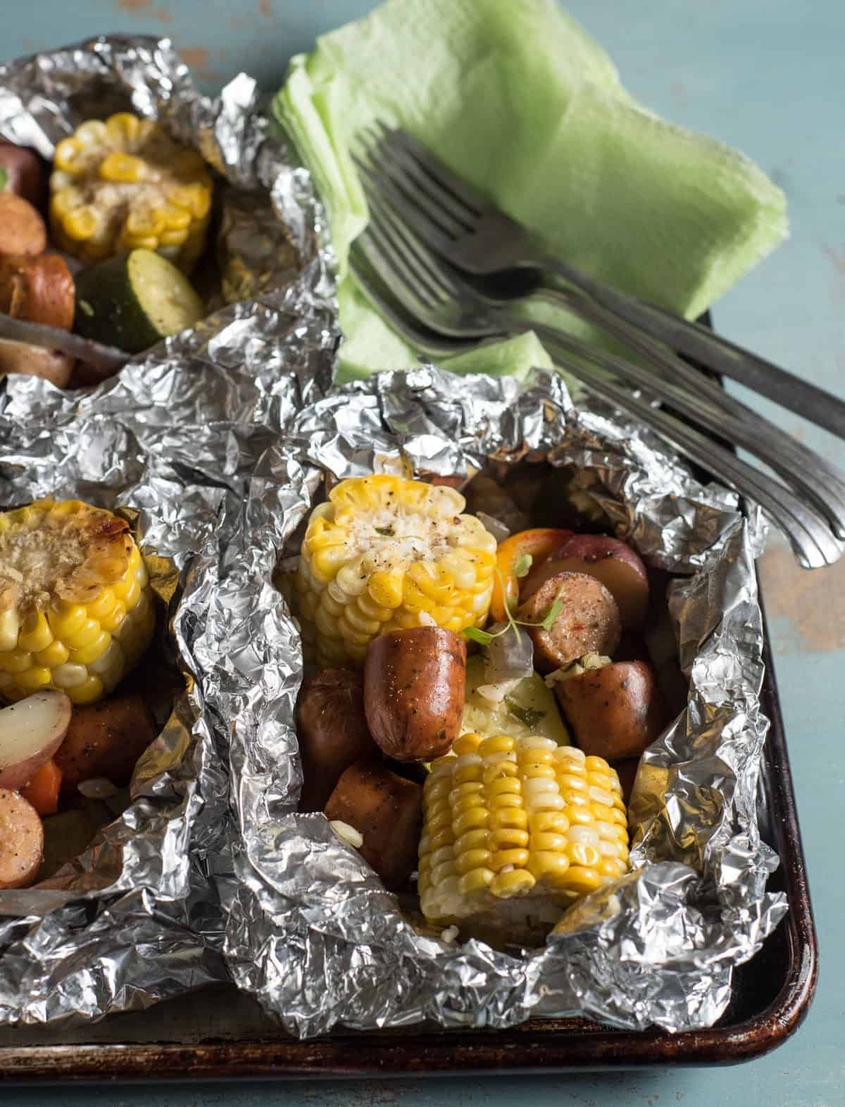 grilled sausage foil packets-5