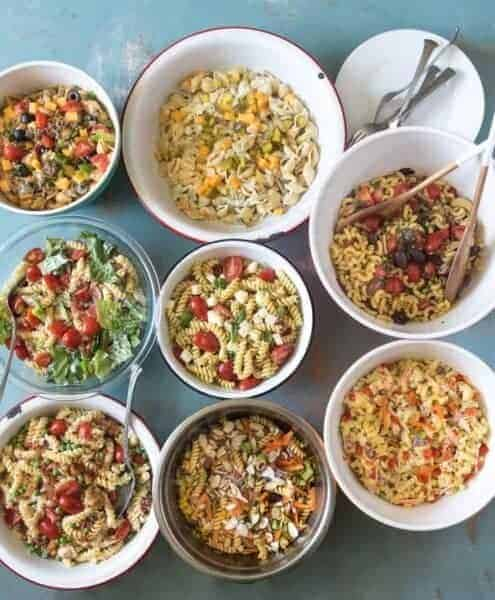 8 different bowls of pasta salad