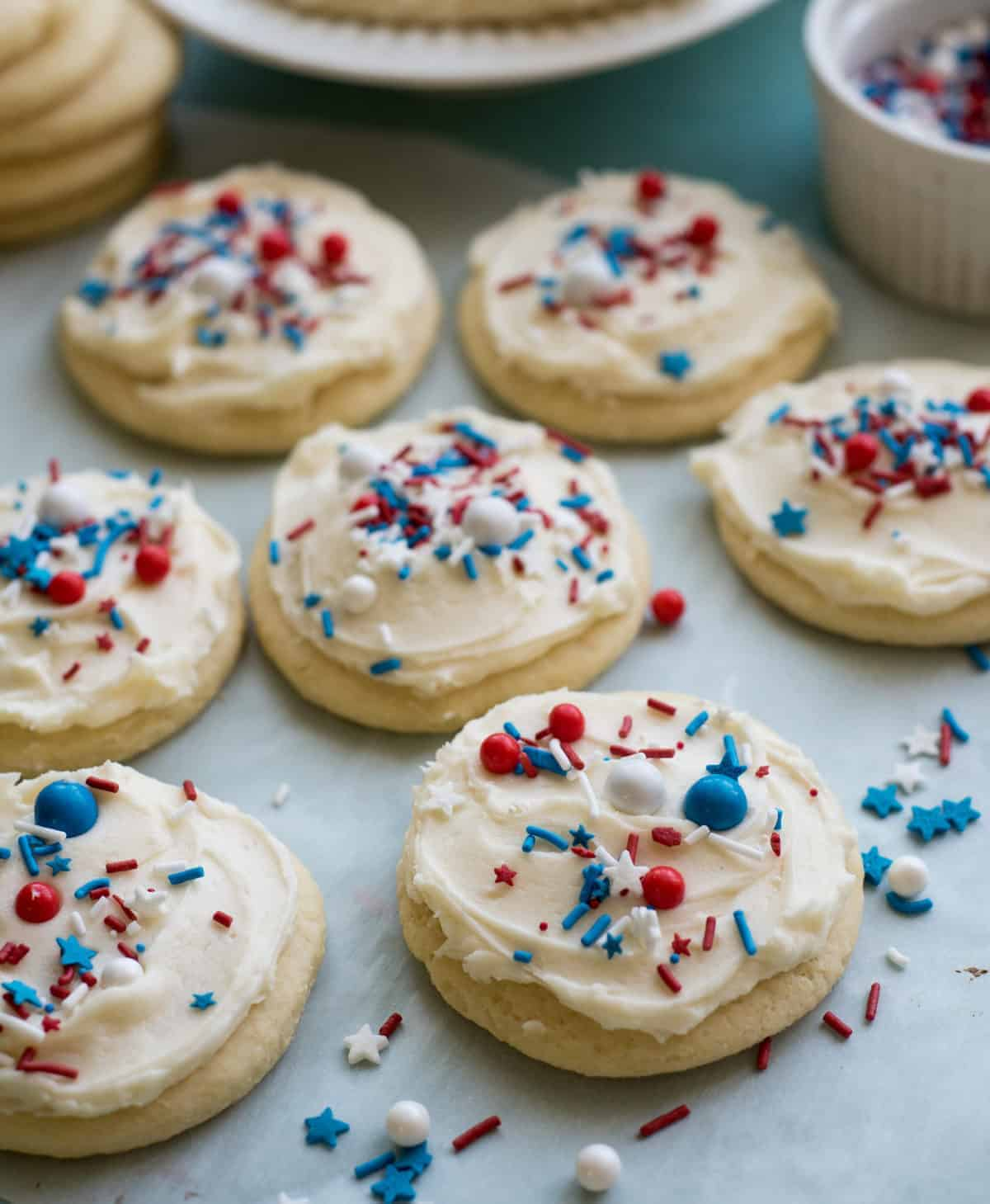 The Best 4th of July Cookies on the Block are super puffy and soft sugar cookies with the cutest sprinkles ever - and they travel well too!