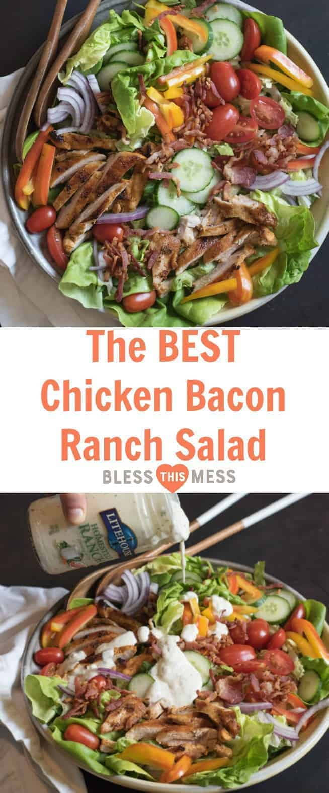 The BEST Chicken Bacon Ranch Salad of summer is a main dish green salad topped with all of your favorite things such as pan seared chicken, bacon, tomatoes, cucumber, and plenty of ranch dressing!
