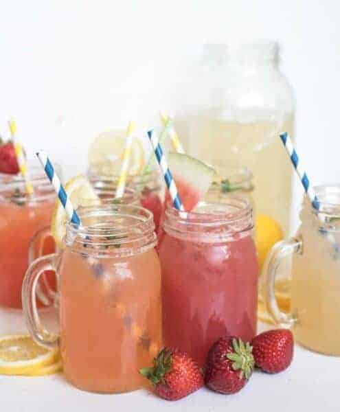 8 Different Homemade Lemonade Recipes all in one place! Learn how to make lemonade with fresh lemons or lemon juice in varieties like strawberry lemonade, raspberry lemonade, and even watermelon and tropical lemonade.