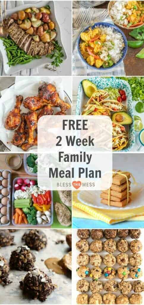 Title Image for Free 2 Week Family Meal Plan and 8 examples of meals and snacks