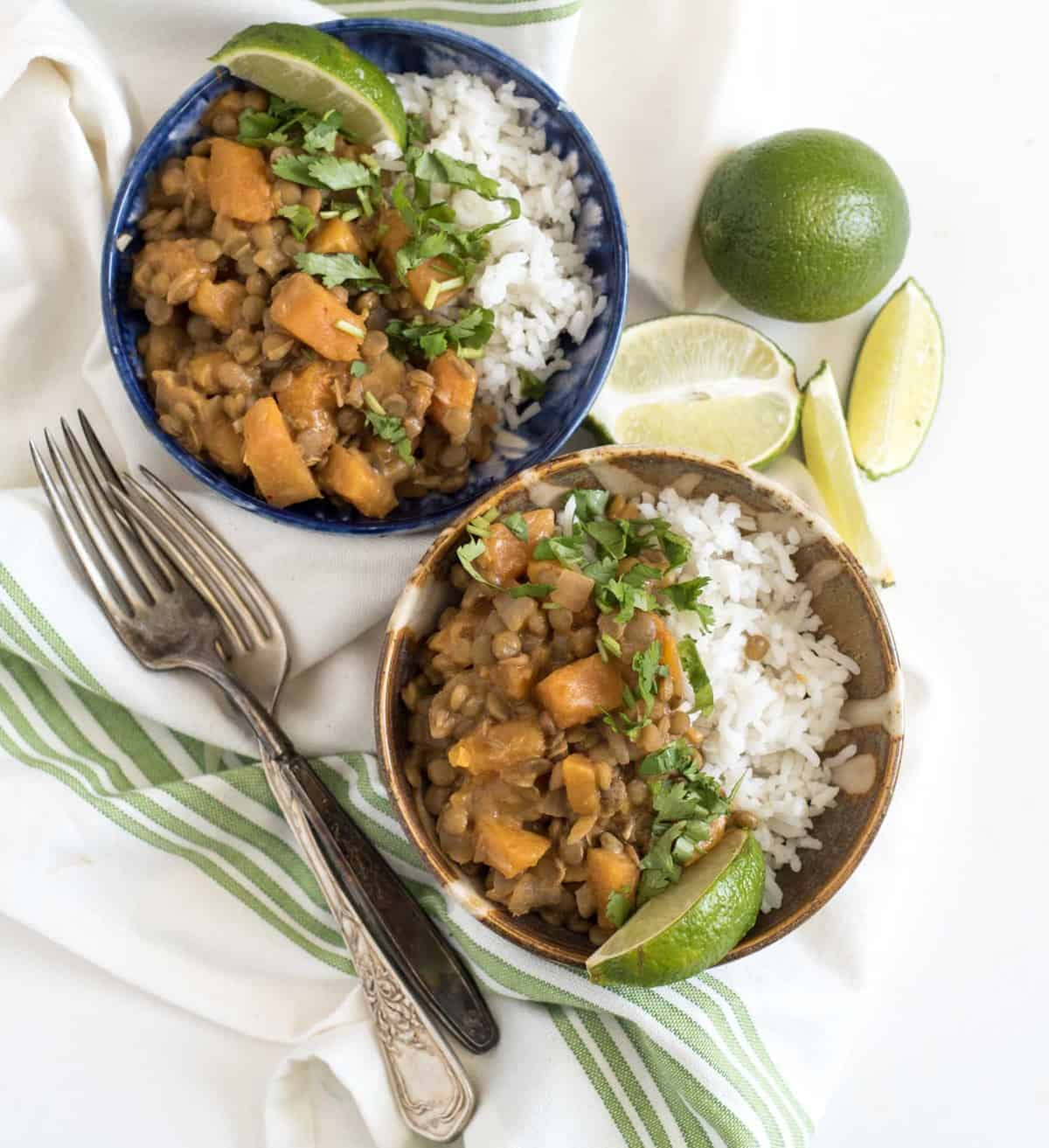 Simple lentil curry made with lentils, butternut squash, and coconut milk makes the perfect healthy plant-based dinner.