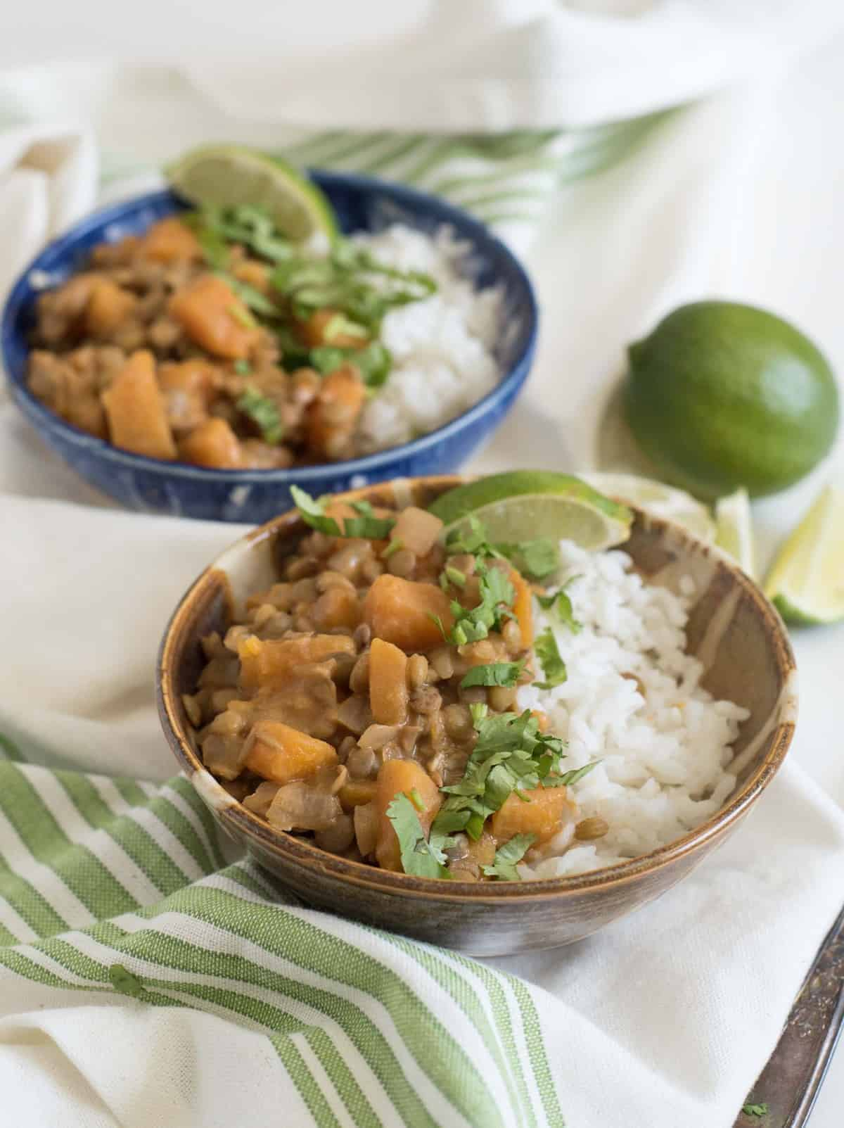 A simple lentil curry made with lentils, butternut squash, and coconut milk makes for a perfect and healthy plant-based dinner.