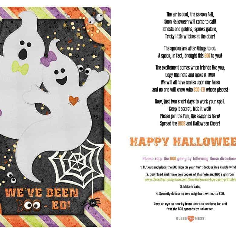 Free Halloween Boo Poem Printable