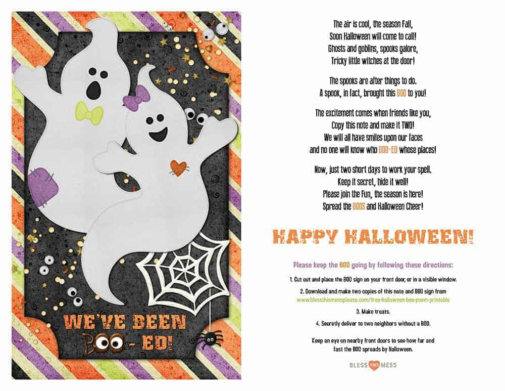 Free Halloween Boo Poem Printable for leaving treats for your neighbors this Halloween season. Door bell ditching has never been so fun!