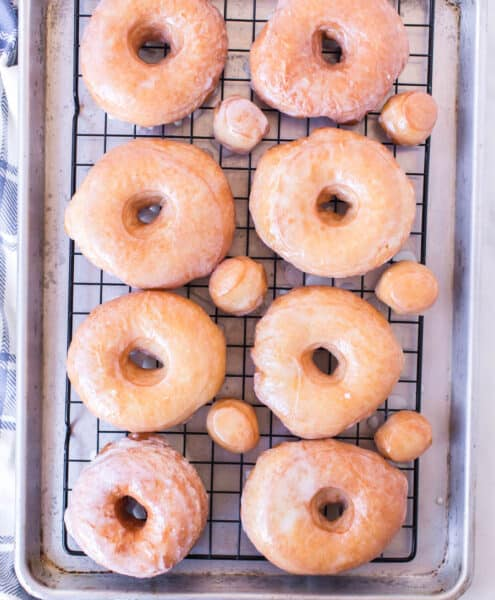 Rack of glazed donuts