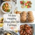Title Image for 14 Day Healthy Meal Plan for Families with 7 examples of meals and snacks
