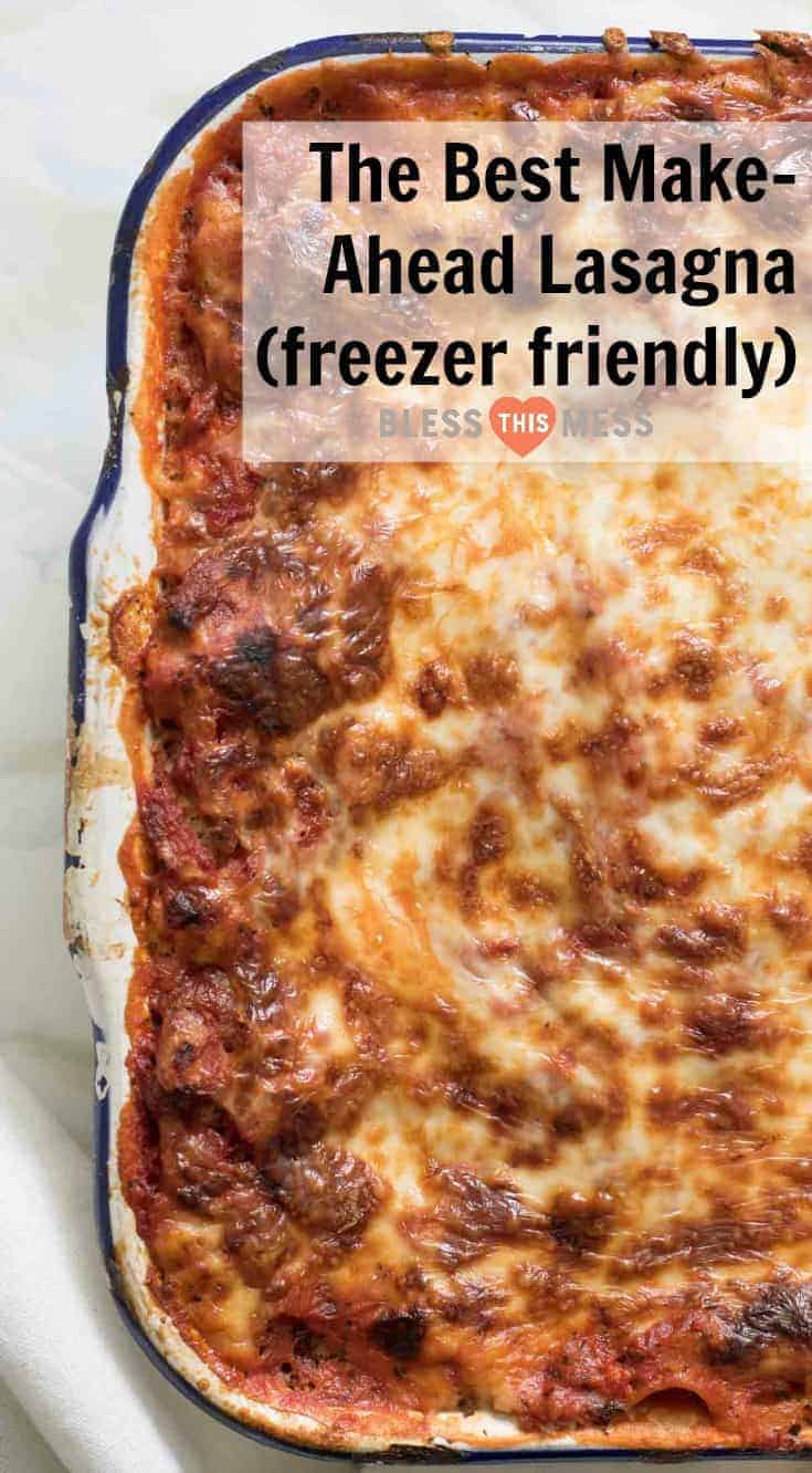 The Best Make-Ahead Lasagna recipe that is freezer friendly too is made with a rich sausage sauce and loads of cheese. This will be your go-to lasagna recipe guaranteed!