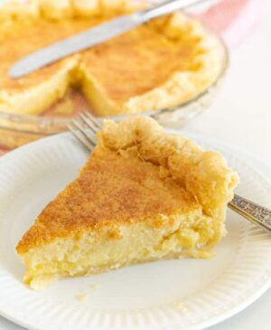 Slice of buttermilk pie on a plate
