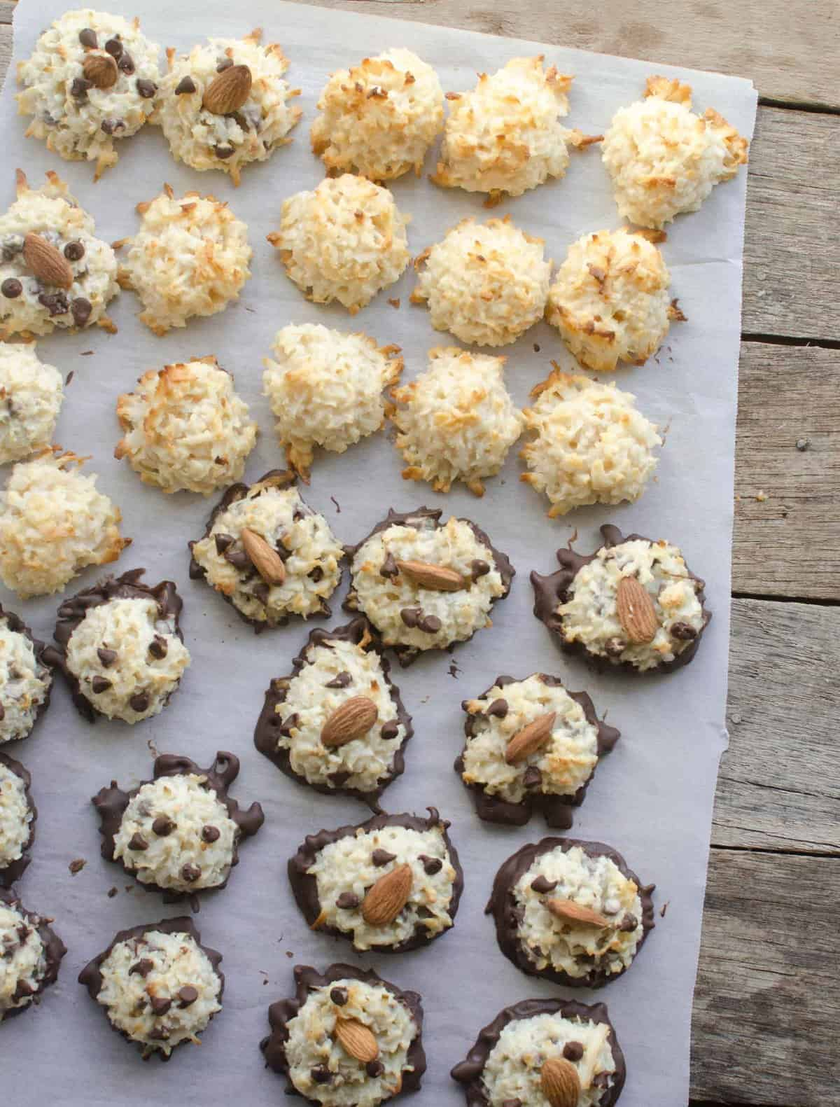 coconut macaroons in three varieties on parchment paper