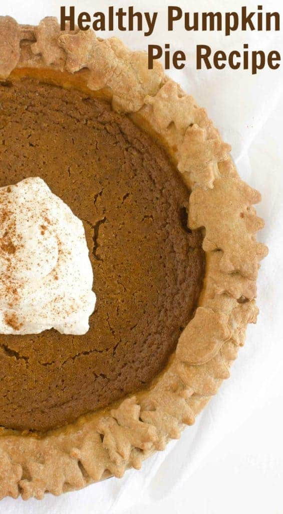 healthier pumpkin pie with decorative leaves in the crust.