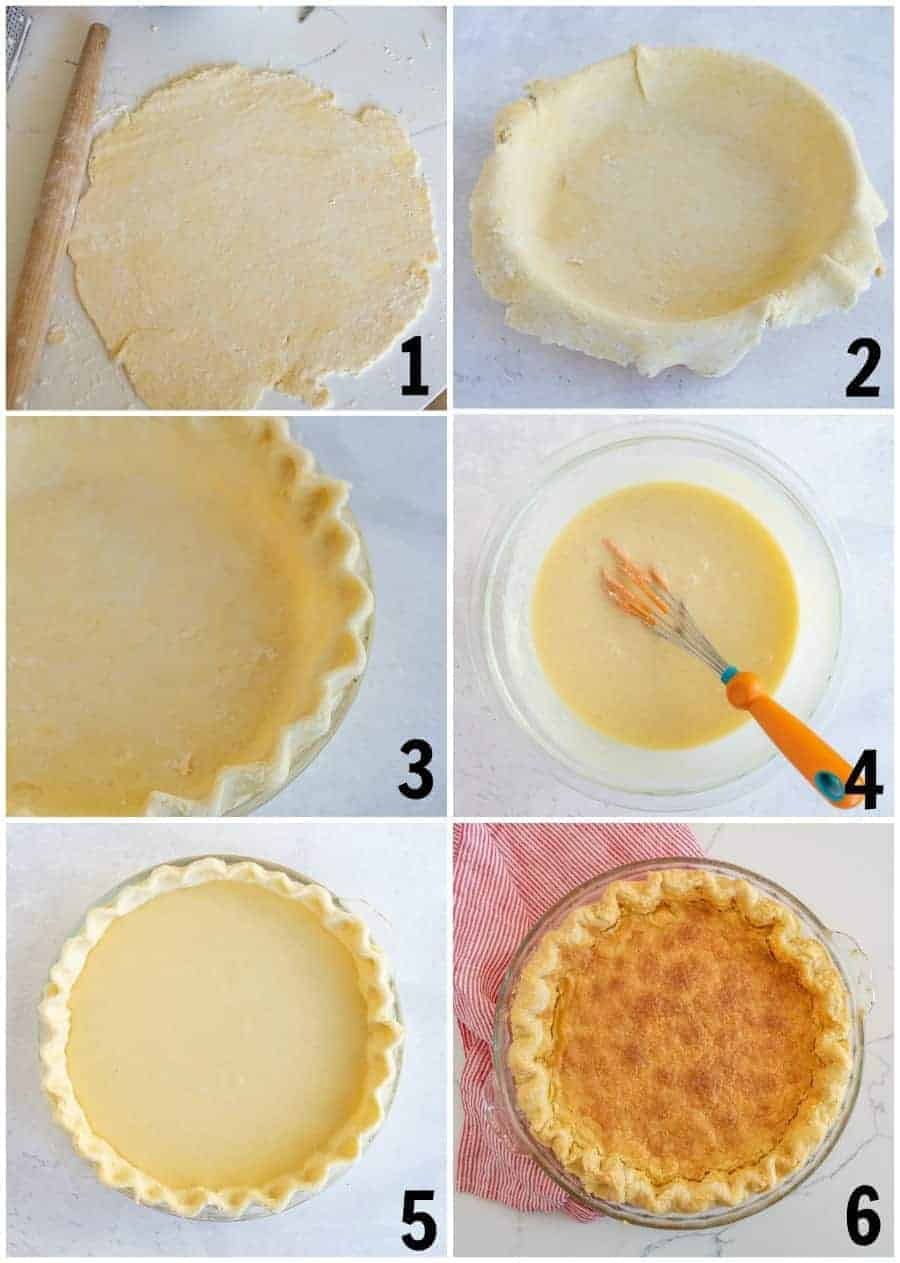 Step by step pictures of a pie being made. Number 1 shows a pie crust rolled out in a large circle and a rolling pin by it. Number two has the pie crust put in a pie dish. Number three shows the pie crust that has been decorated on the edges. Number four shows a glass bowl with the pie filling in it and an orange whisk. Number five show the pie all put together in the dish. Number six shows the cooked pie with a red and white striped dish towel underneath.