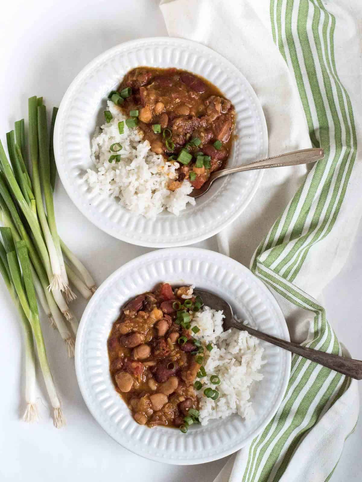 Instant Pot or slow cooker Cajun beans and rice is going to become a quick family favorite all winter long!