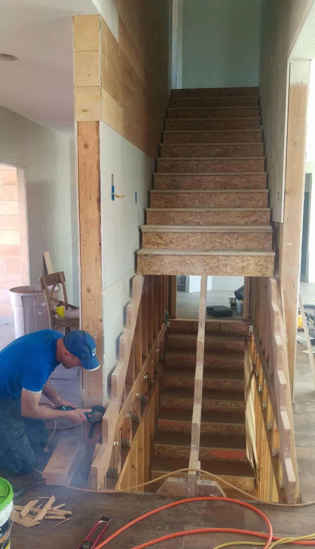 stairs to the second floor being installed
