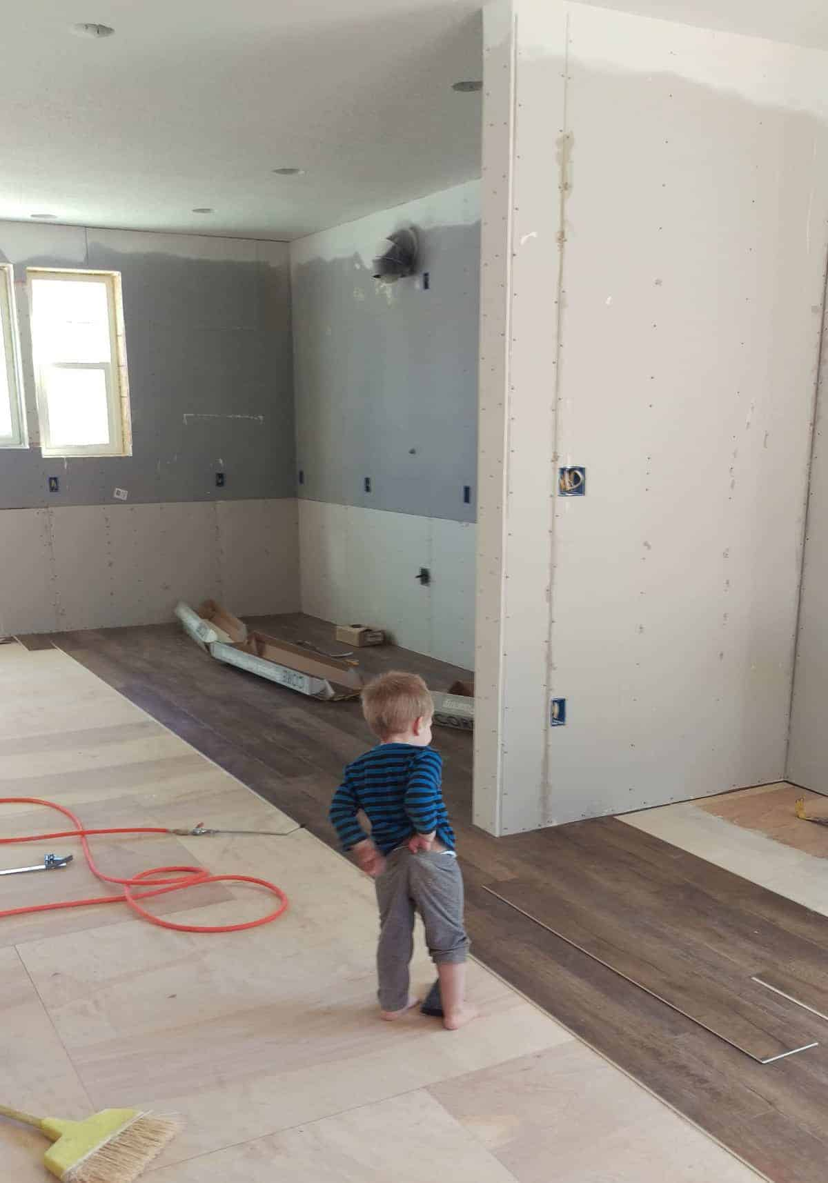 wooden floors being installed in the living space