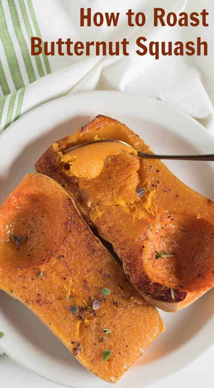Quick and easy guide on how to roast butternut squash in the oven. You can use the roasted squash as a side dish or in recipes that call for pumpkin puree! #butternutsquash #butternut #howto #howtocook #roasted