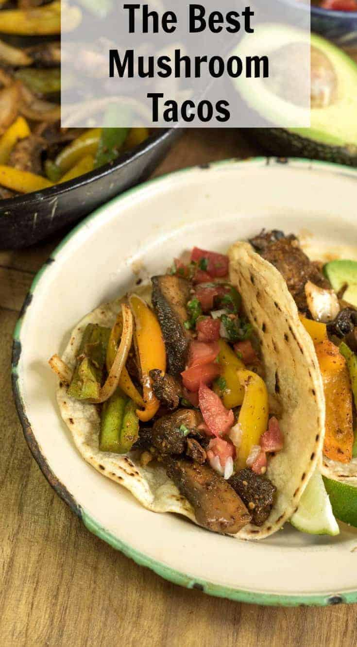 The best mushroom tacos made with portobello mushrooms, peppers, onions, and plenty of spices. This meatless taco recipe won't leave you hanging!
