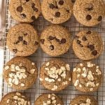 Top view of banana muffins on a cooling rack with chocolate chip or oat topping