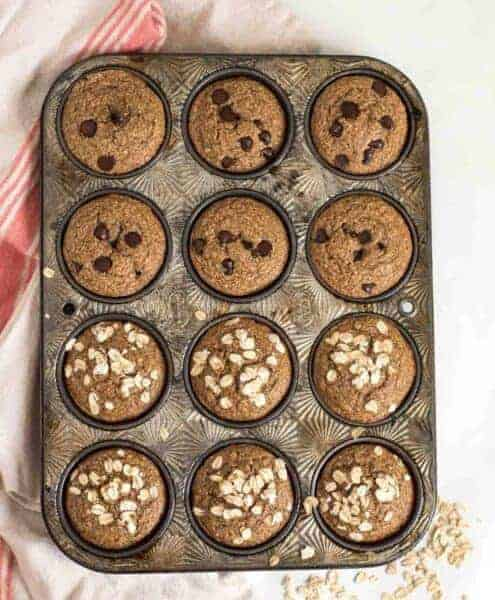 Quick and Easy Healthy Banana Muffins made in the blender with whole grain oats, maple syrup, Greek yogurt and more!