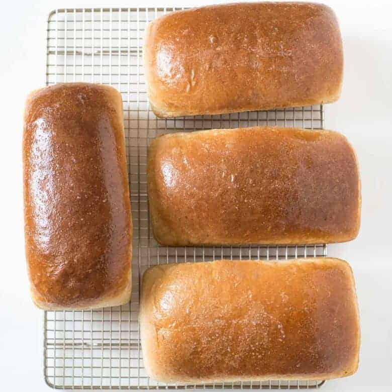 Mom's Four Loaf Wheat Bread Recipe