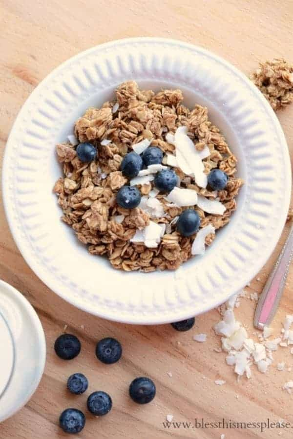 A bowl of granola in a white bowl topped with coconut flakes and blueberries