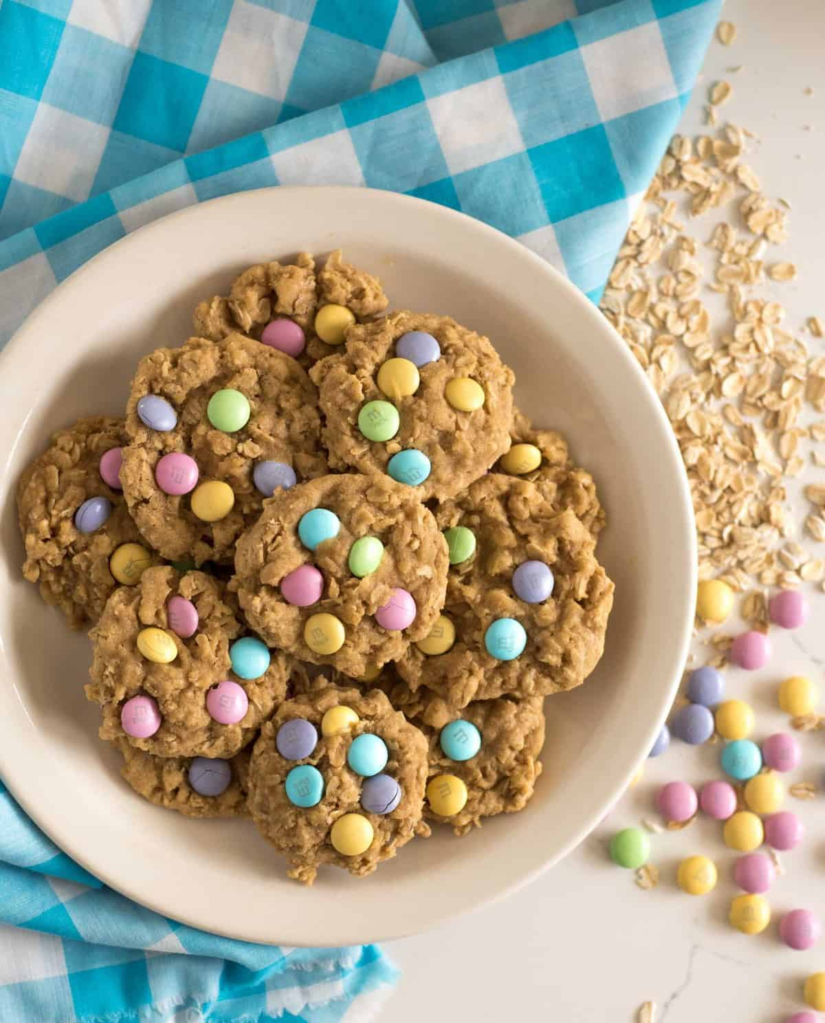 Homemade oatmeal cookies topped with colorful M&M candies to make the cutest cookies on the block; plus they taste great too!