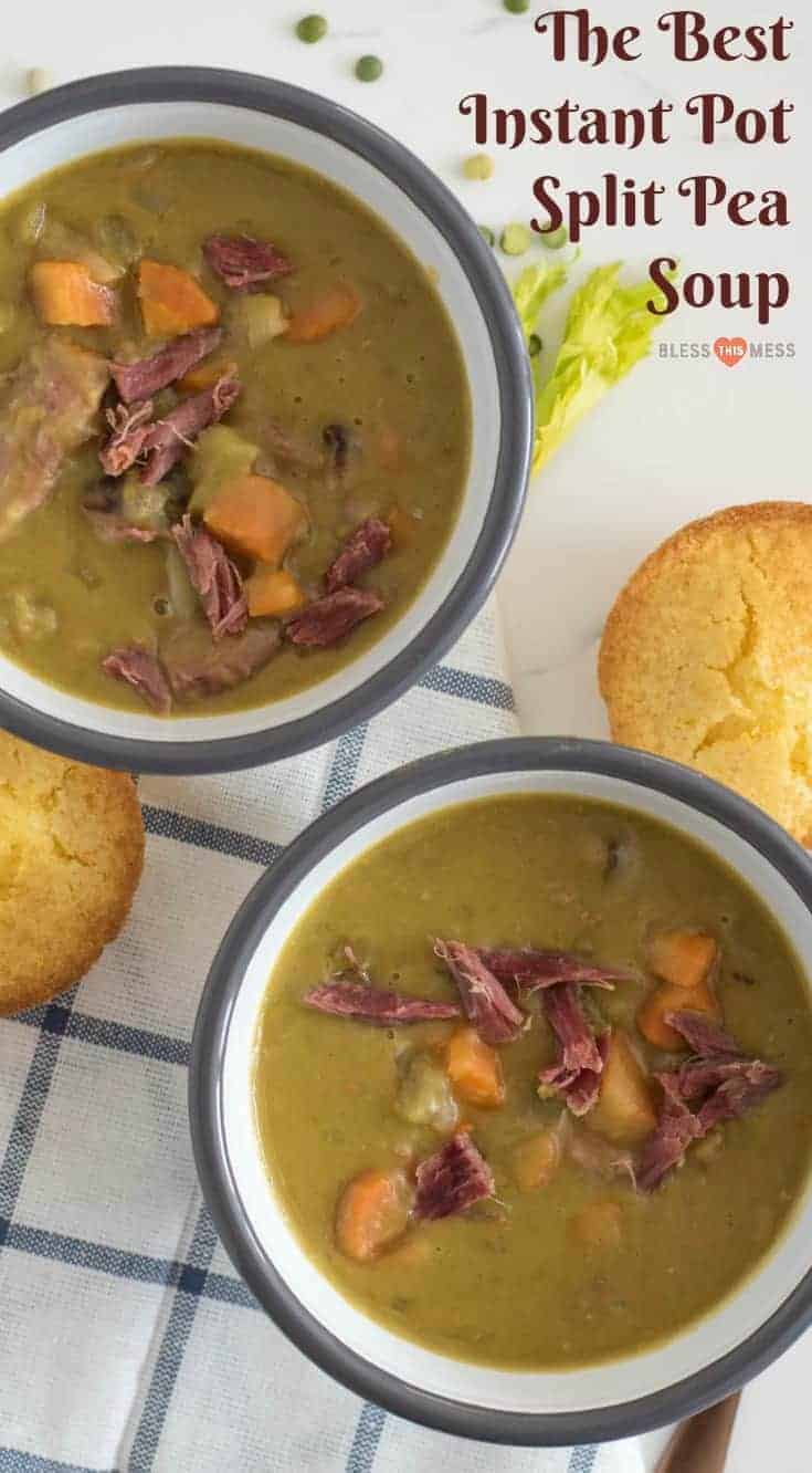 Quick and easy Instant Pot Split Pea Soup made with just a few ingredients and done in about 40 minutes, start to finish.