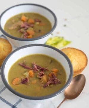 Two bowls of instant pot split pea soup