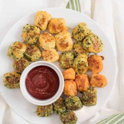 Plate of veggie tots with ketchup