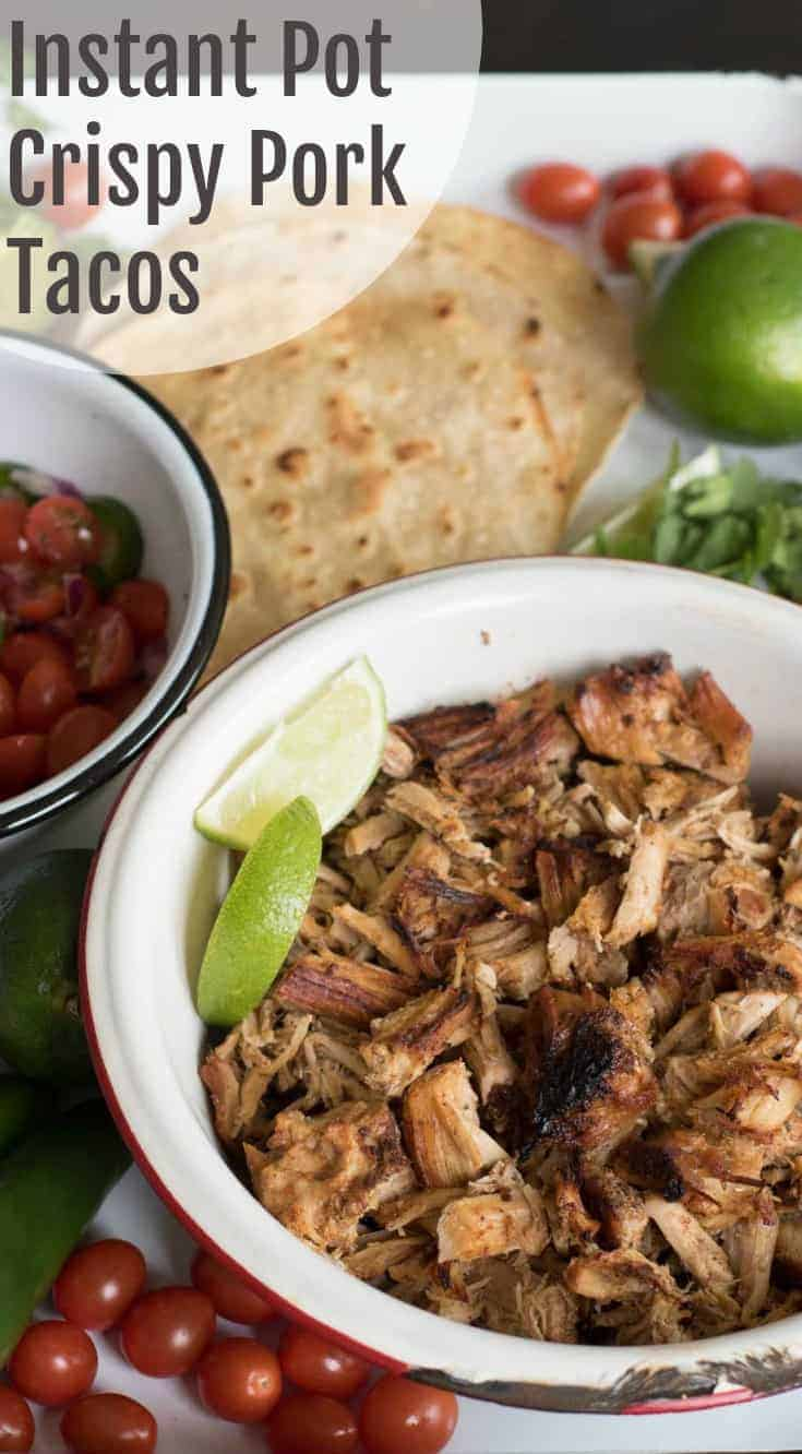 The best Instant Pot pork taco recipe on the internet. The secret is a whole lot of seasoning cooked into the pork and then finishing the dish under the broiler in your oven.