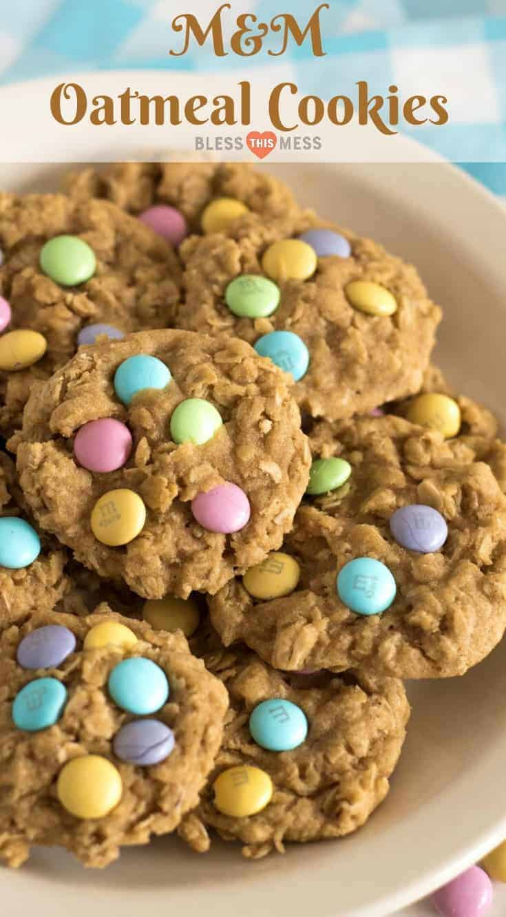 Homemade oatmeal cookies topped with colorful M&M candies to make the cutest cookies on the block; plus they taste great too! #oatmealcookies #spring #cookies #baking #dessert #recipe #food