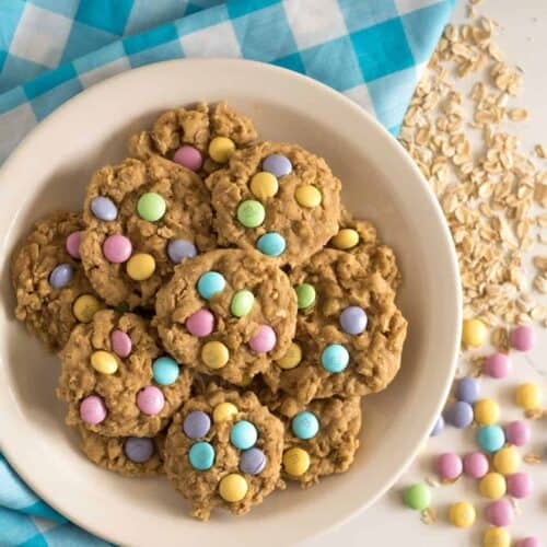 Chewy Spring M&M Oatmeal Cookies