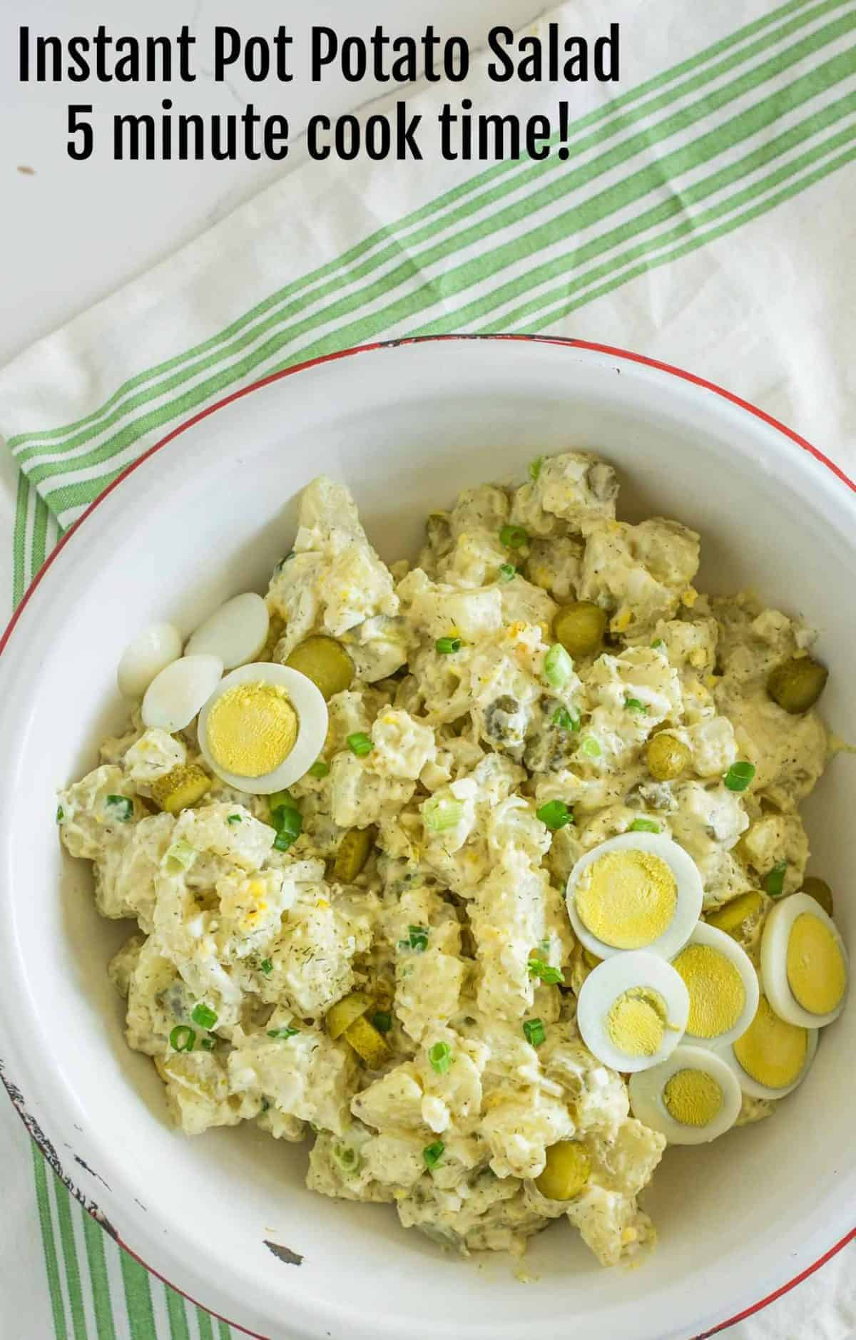 Instant Pot Potato Salad that only has a 5 minute cook time and you cook the eggs right along with the potatoes, plus there's a secret ingredient.