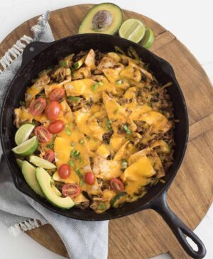 Pan of chicken enchilada casserole