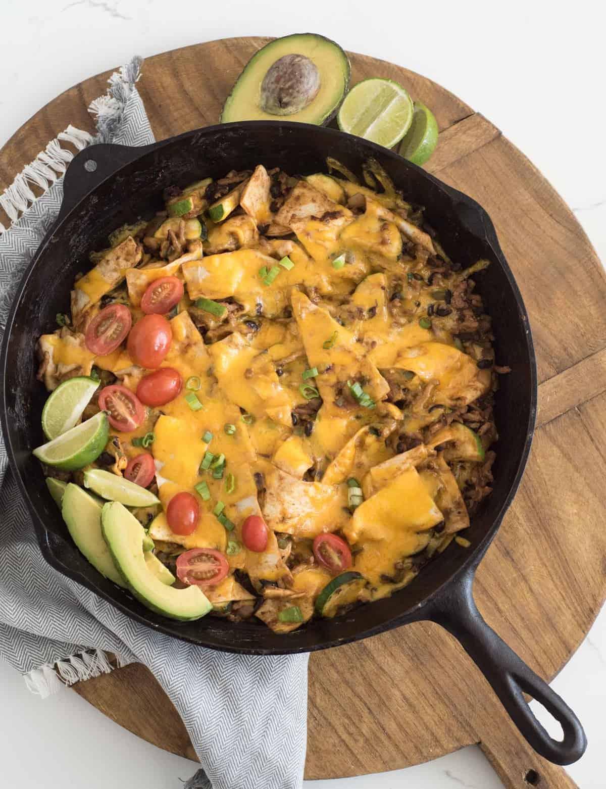 Pan of chicken enchilada casserole
