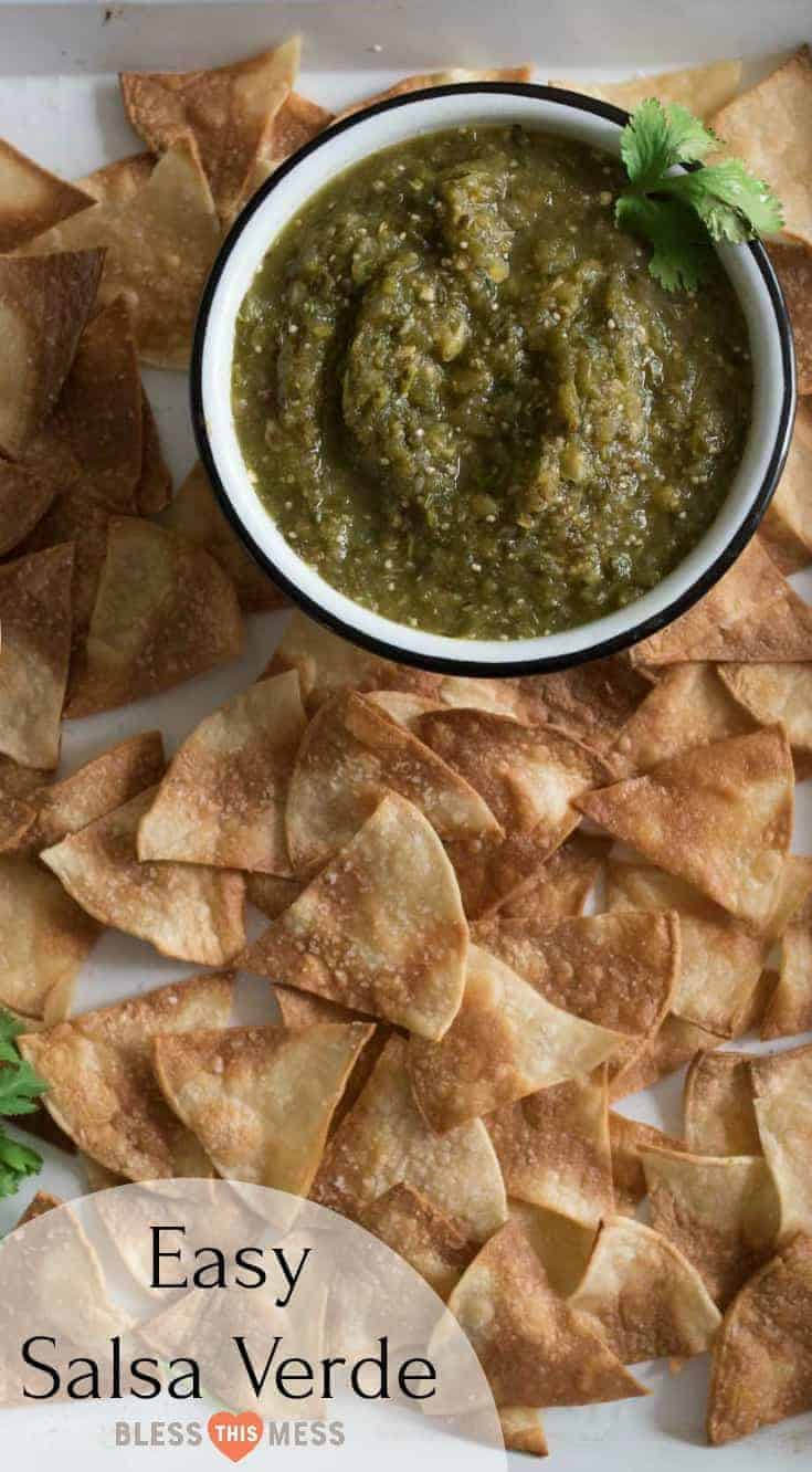 Quick and easy salsa verde recipe made with oven roasted tomatillos, peppers, onion, and garlic all blended to salsa perfection with a mix of herbs, spices, and lime juice.