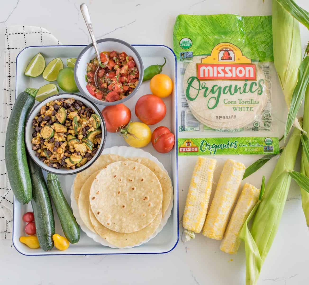Image of Ingredients for Roasted Zucchini, Corn & Black Bean Tacos